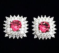 EARRING Cubic Zirconia Crystal Gemstone Stud Silver Simple Red Corundum CZ