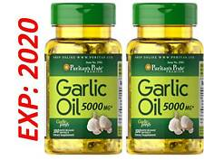 Garlic Oil 5000 MG 200 Caps Cholesterol Cardio Health Very Fresh Pills Exp 2020