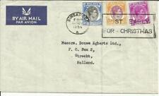 Singapore SG#27,#25,#19a 26/NOV/1954 Slogan Cancel Airmail to Holland,