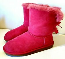 AUTHENTIC UGG AUSTRALIA BAILEY BOW II PINK SUEDE SHEEPSKIN BOOT WOMEN US 6 #3280