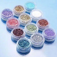12 Piezas Manicura Decoración Purpurina Polvo Set Gel Acrílico UV Uñas Accesorio
