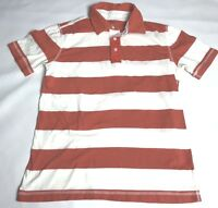 Gap Polo Shirt Mens Size Small Orange White Striped Cotton Short Sleeve