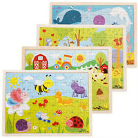 Unique Wooden Puzzle Jigsaw Cartoon Baby Kids Educational Learning Tool Set IHL