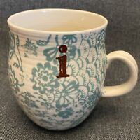 ANTHROPOLOGIE Homegrown Monogram Mug Coffee Tea Cup Initial Monogram Aqua Blue I