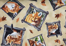 RED FOX  OUT OF THE DEN  MOTHER & CUBS QUILTING TREASURES COTTON FABRIC YARDAGE