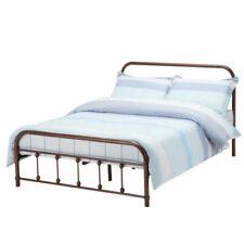 Queen Velvet Upholstered Platform Metal Bed Frame Furniture Wood Slates Brown