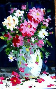 Original painting  gouache flowers still life decoration fine wall art Tania