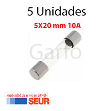 5X Fusible Rapido de Vidrio 5X20 mm 10A 250V. Pack 5 Fusibles Cristal