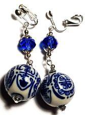 Long Blue Chinese Porcelain Clip On Silver Earrings Drop Dangle Boho Artisan