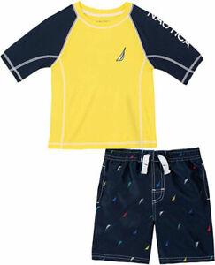 Nautica Boys Yellow & Red 2pc Rashguard Swim Set Size 2T 3T 4T 4 5 6 7