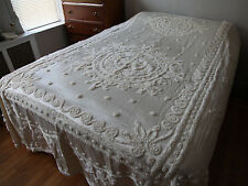 Vintage Satin Chenille Bedspread Off White Queen 50s 60s MCM Mid Century