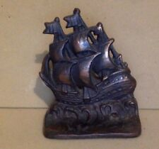Antique Cast Iron. Copper Coated Cast Iron Ship Doorstop. Rare.