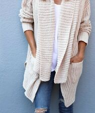M New Anthropologie Women's Cream Cozy Knit Pocketed Cardigan Sweater Top MEDIUM