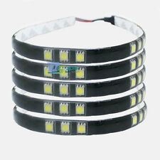 4x White 5050 SMD 15 LED 30cm Strip Car Day Running Light Waterproof Auto Home