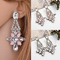 New Elegant Women Crystal Resin Flower Ear Stud Eardrop Dangle Earring Jewelry