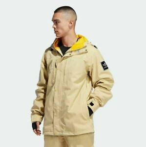 2020 NWT MENS ADIDAS UTILITY SNOWBOARD JACKET $250 Sand/Collegiate Gold hooded