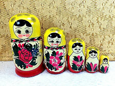 Russian Nesting Wooden Dolls 9 Pc Hand Painted Beautiful Red Yellow Vibrant Gift