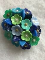 1950s Flower Cluster Brooch Domed Hard Plastic Vintage Jewellery Jewelry Retro