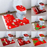 3PCS/Set Christmas Bathroom Non-Slip Pedestal Rug+Lid Toilet Cover+Bath Mat US