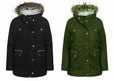 WOMENS LADIES GIRLS PARKA FUR HOODED JACKET PARKER WINTER OUTWEAR JACKET 8 - 16
