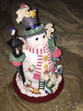 Danbury Mint Dreamsicles Snowman Cherubs Lighted Christmas Sculpture 2002 Works