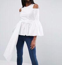 BRANDED PREMIUM Cotton Ladies Top with Peplum and Sleeve Drama Ivory UK 14/EU 42