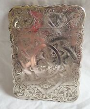 c1864 Antique HILLIARD & THOMASON Silver Visiting Card Case GOTHIC Revival ROSES
