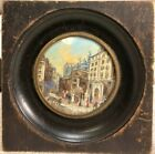 Very Good Antique French Watercolor City Scene Miniature Signed A  Lesieur