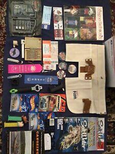 Junk drawer lot - tools, matchbox, pez, fishing, tickets, buttons