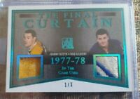 14-15 Leaf In The Game Used Johnny Bucyk Rod Gilbert The final curtain patch 1/3