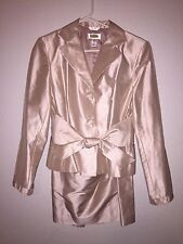 Talbots Ladies Suit Shantung Blazer / Skirt Tie Front Detail Peach And Ivory 10