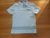 Original Penguin Men's Blue Striped Short Sleeve Polo Slim Fit Shirt Size XL