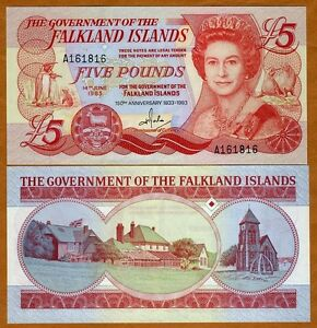 Falkland Islands, 5 pounds, 1983, QEII, P-12, A-Series, UNC > Commemorative