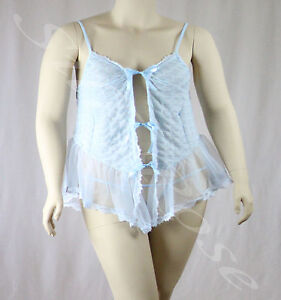 WOMENS PLUS SIZE SLEEPWEAR SEXY SHEER PALE BLUE LACE FRONT BABYDOLL NIGHTIE