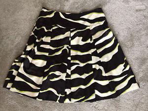 Women's Zara Pleated Skirt  - XL 16 - Black and Lime Zebra Like Print