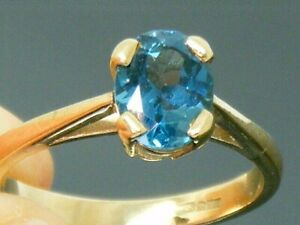 9ct Gold Vintage Design Blue Topaz Solitaire Ring size N