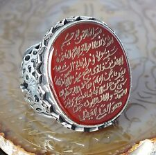 Islamic Mens Ring Ayat al-Kursi engraved 925 Sterling Silver natural Carnelian