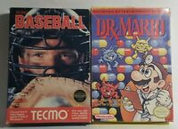 Dr. Mario & Tecmo Baseball Both Complete Nintendo NES CIB Game Original Good
