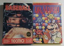 Dr. Mario & Tecmo Baseball Both Complete Nintendo NES CIB Game Original Good