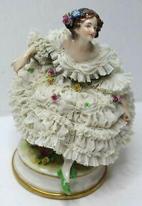 "Vintage Antique Dresden Porcelain Lace Lady Figurine - 8 1/4"" High"