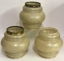 """3 Antique Glass 5"""" Cream Ribbed Glass Lamp Shade Farm House Salvage w/ 3"""" Fitter"""
