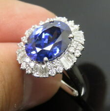 Best Natural Violet Blue Tanzanite VVS Diamond Ring Solid 14K White Gold