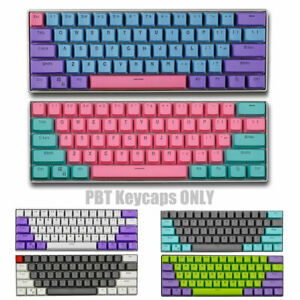 61 Key PBT Thick 60% Keycaps ANSI For Cherry MX Mechanical Keyboards Backlit