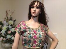 """36"""" S Designer Saree Blouse Indian Bollywood Sari Top Choli Black Gold R15"""