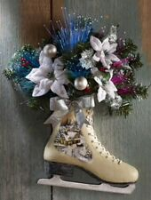 Poinsettia FLORAL Ice Skates Fiber Optic Wreath Wall Hanging Swag Gift Christmas