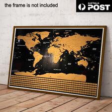 Scratch Off World Map Poster Interactive Travel Atlas Decor Large AU