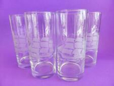 Frosted Sailing Ship High Ball Drinking Glasses, Set of 4, Vintage Glassware