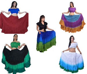 Women's Tribal Dip Dye 25 Yard Skirt Belly Dance Kuchi 100% Cotton Fast Shipping