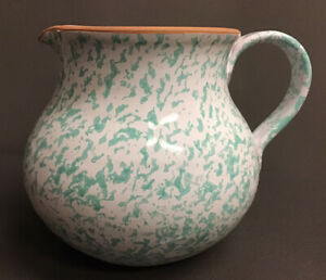 Pretty Large Ceramic Pitcher Made in Italy Green & White Sponge Paint Speckled