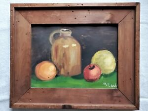 """Still Life on canvas primitive in rustic wood framed 22""""x18"""" signed Art painting"""